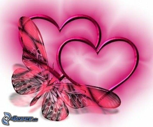 rysunkowe serca, motyl