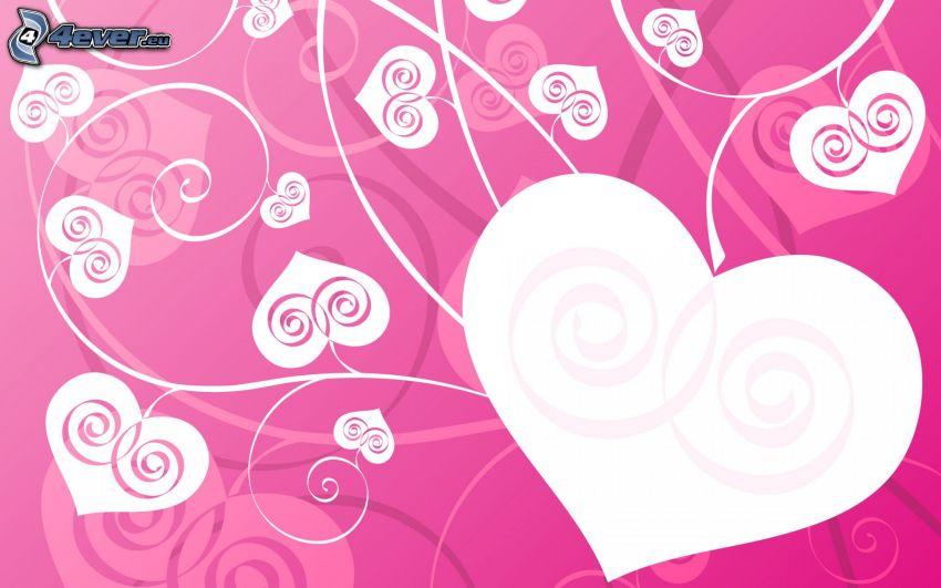 rysunkowe serca, różowe tło