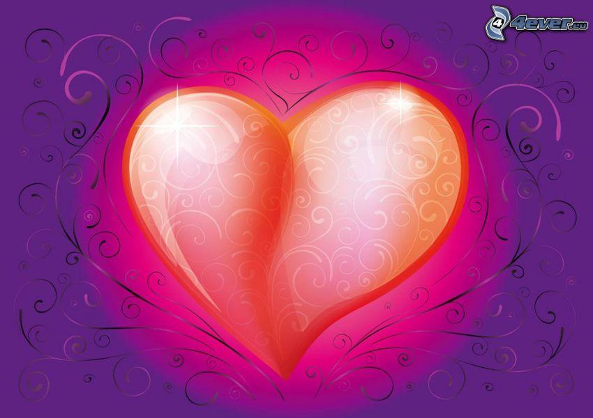 serce, fioletowe tło