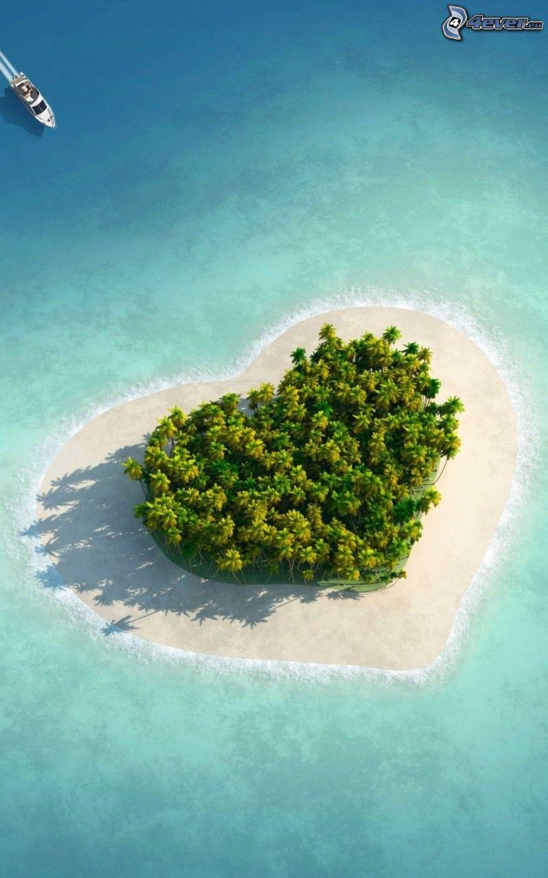 serce, wyspa, morze, palmy, jacht