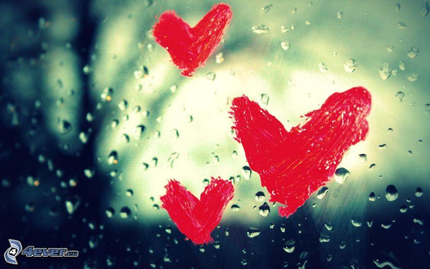 serce na oknie, krople, czerwone serduszka