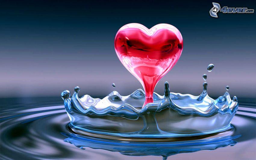 serce z wody, kropla