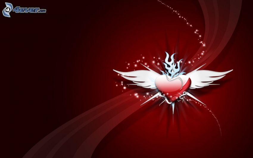 serce ze skrzydłami, abstrakcyjne