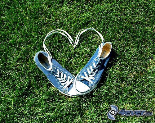 serce ze sznurówek, niebieska tenisówka, Converse, trawa