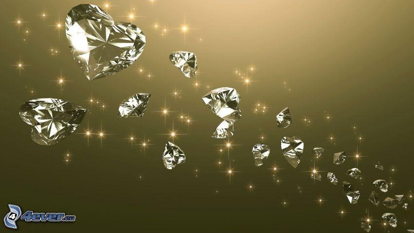 serduszka, diamenty