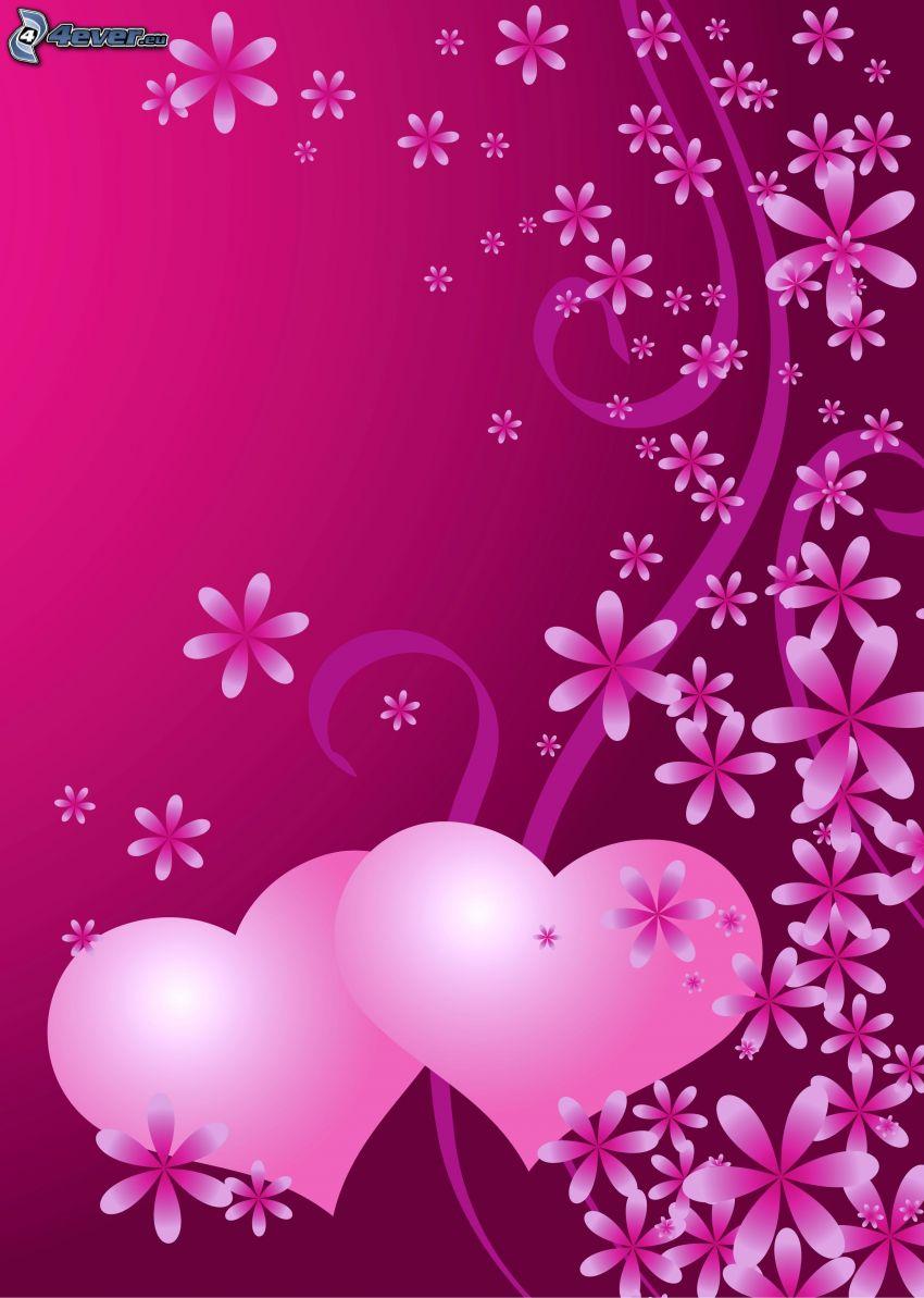 serduszka, kwiaty, różowe tło