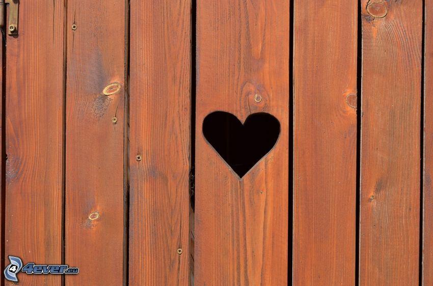 serduszko, drewniana ściana