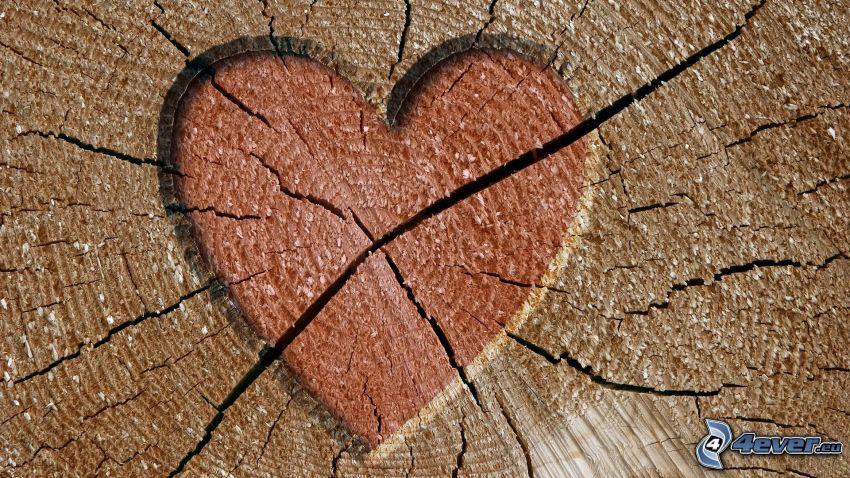 serduszko, drewno, pęknięcia