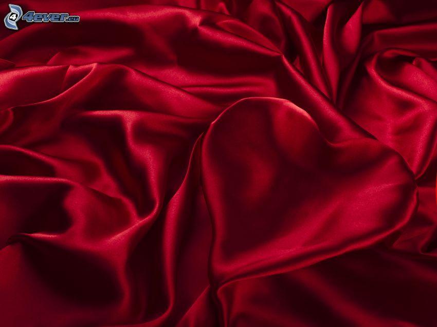 serduszko, jedwab, czerwone tło