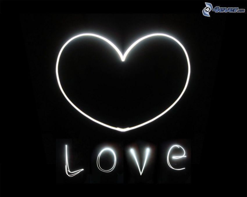 serduszko, love, lightpainting, czarno-białe