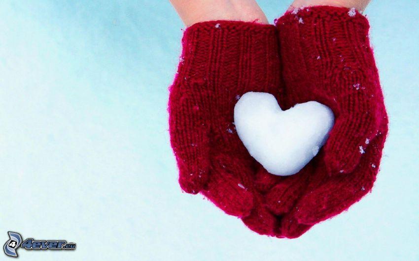 serduszko, rękawice, śnieg