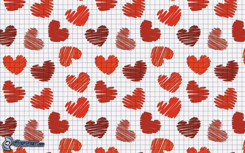 walentynkowe czerwone serca, rysowane, papier