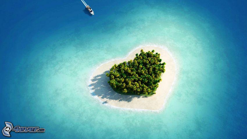 wyspa, serduszko, jacht