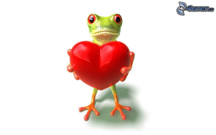 żaba, czerwone serduszko