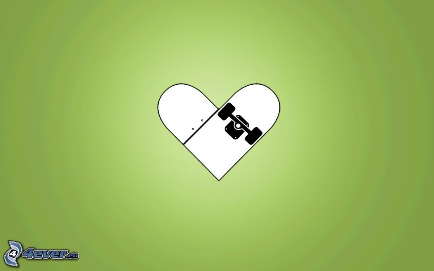 zielone serduszko, skateboard