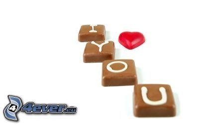 I love you, miłość, czekolada