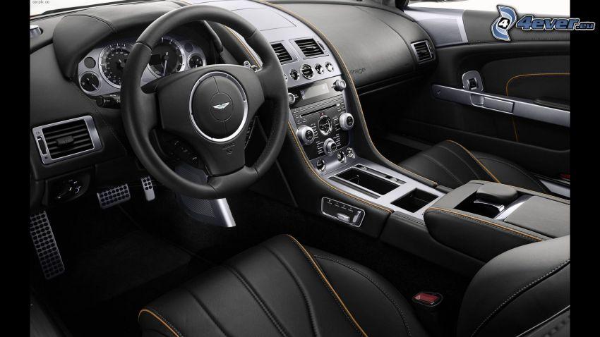Aston Martin, wnętrze, kierownica, tablica rozdzielcza