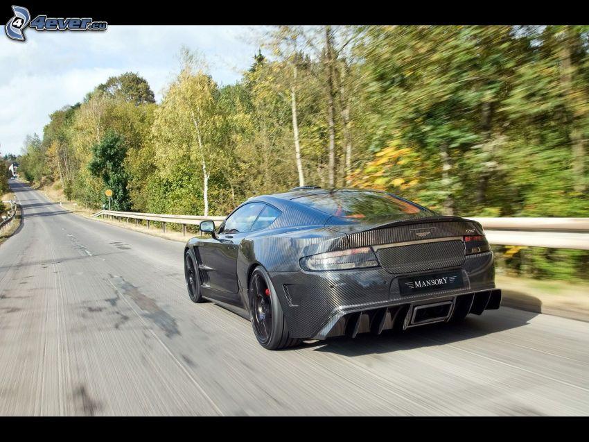Aston Martin DB9, prędkość, ulica, drzewa