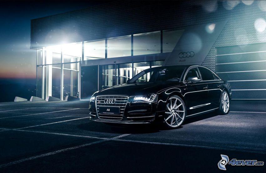 Audi A8, parking, budowla, noc