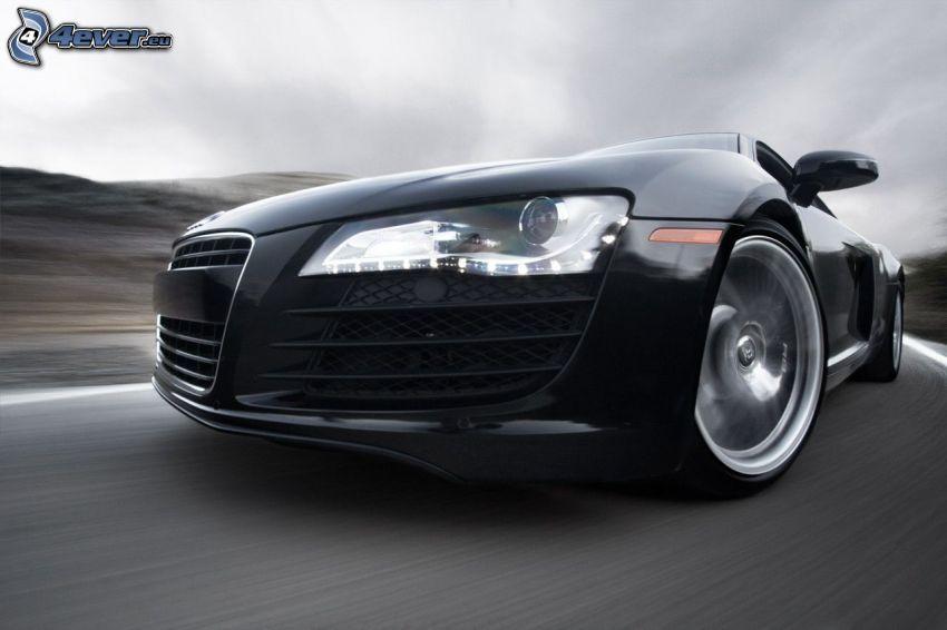 Audi R8, przednia maska, reflektor, prędkość