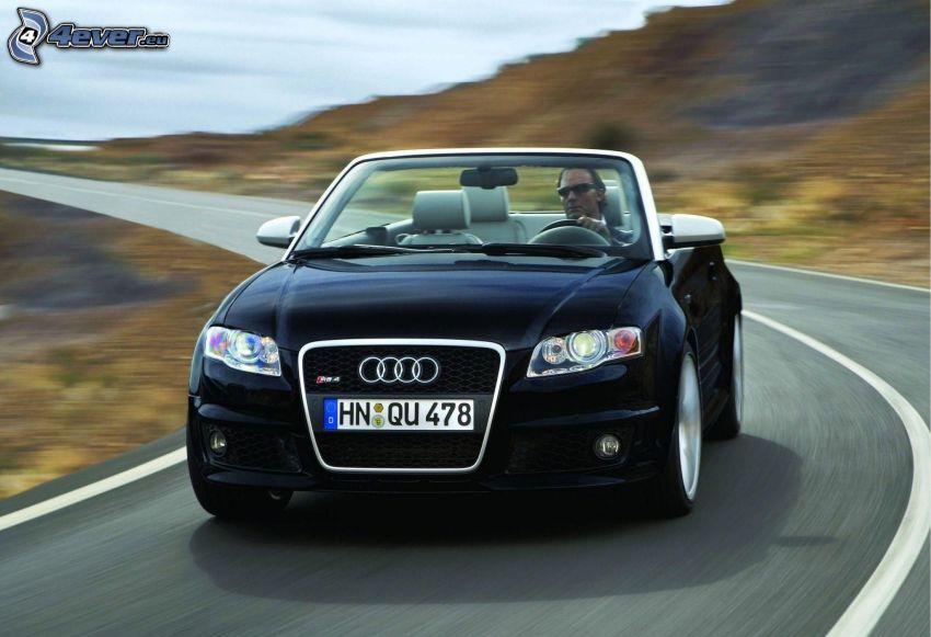Audi RS4, kabriolet, prędkość, zakręt