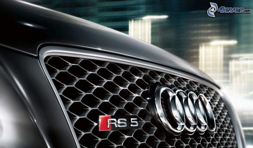 Audi RS5, przednia maska, logo