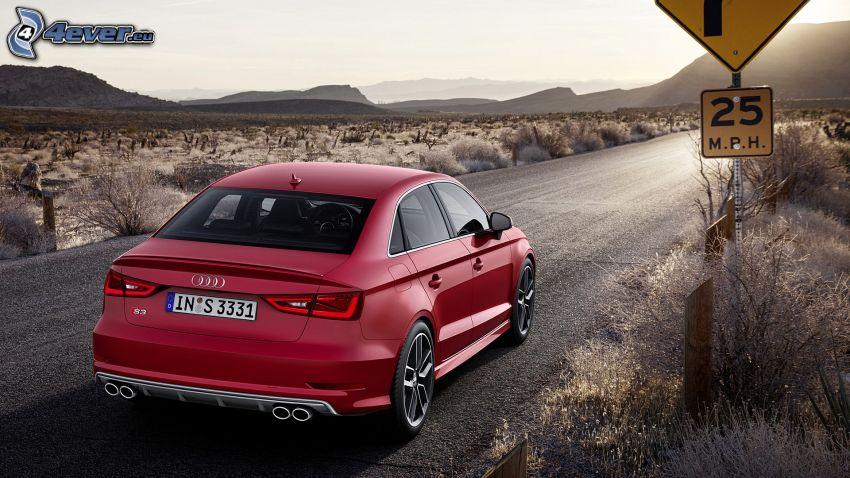 Audi S3, polna droga, znak drogowy
