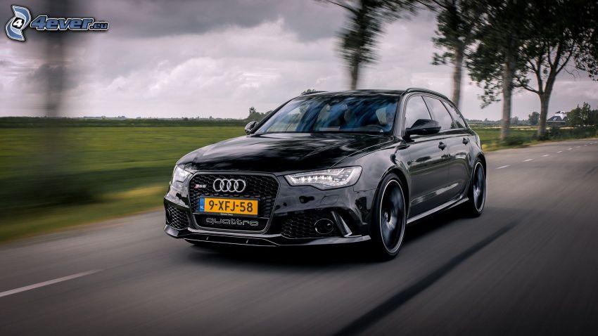 Audi S6, prędkość, ulica, aleja drzew