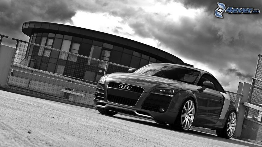 Audi TT, budowla, czarno-białe