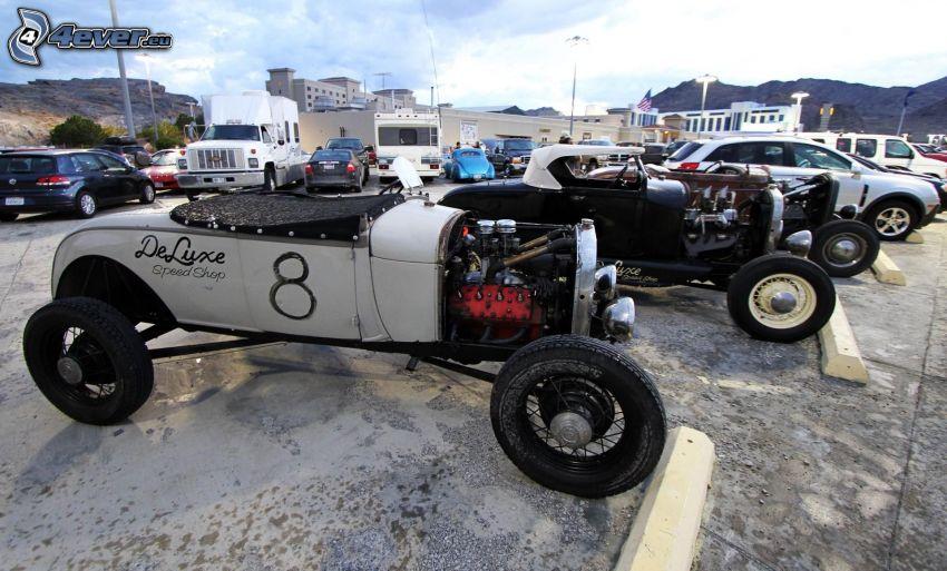 auta wyścigowe, weteran, parking