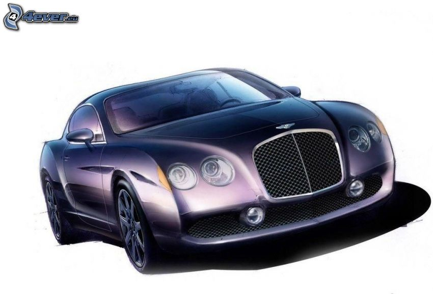 Bentley, rysowany samochód