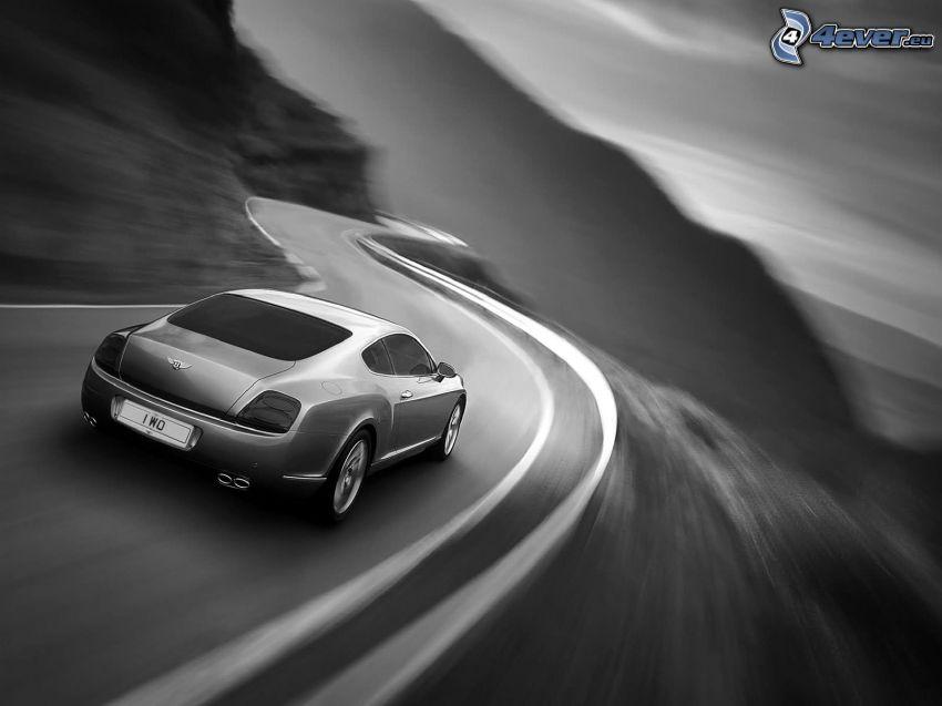 Bentley Continental GT, prędkość, czarno-białe