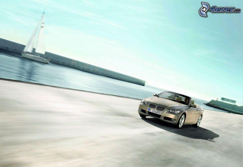 BMW, kabriolet, prędkość, morze