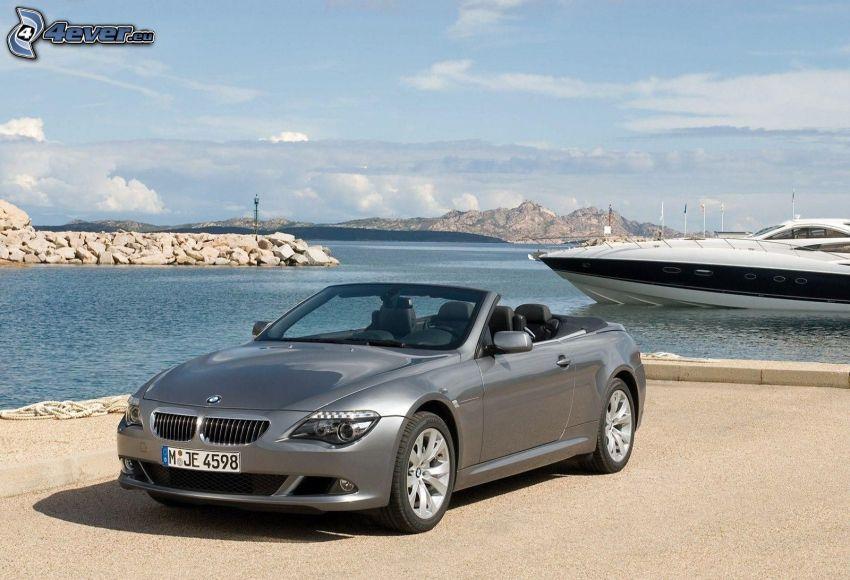 BMW 650i, kabriolet, łódka