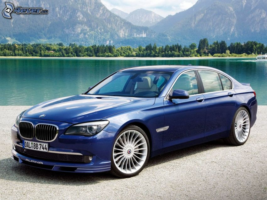 BMW Alpina B7, jezioro, góry