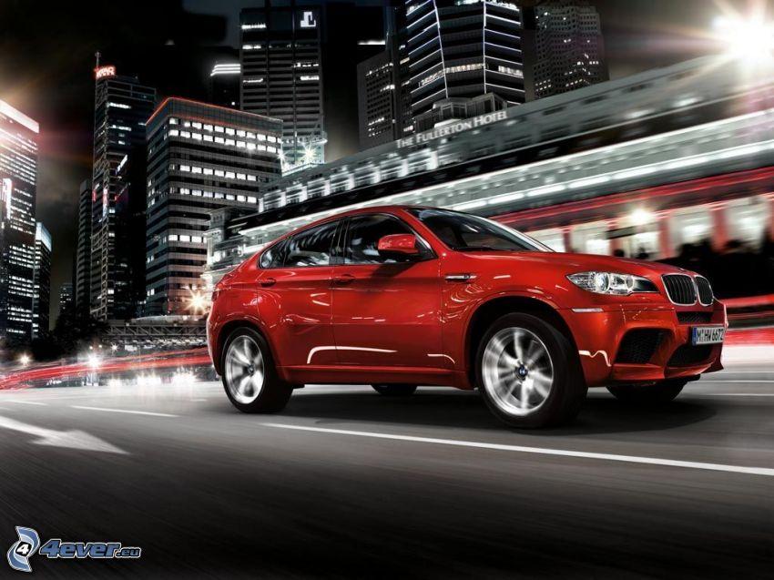 BMW X6, miasto nocą