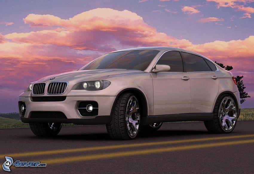 BMW X6, ulica, różowe niebo