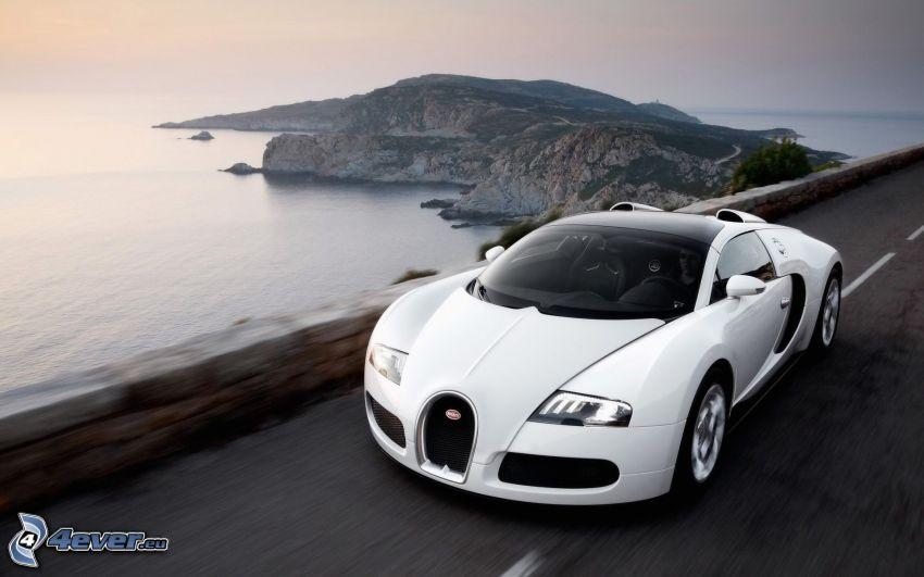 Bugatti Veyron, morze, wyspa