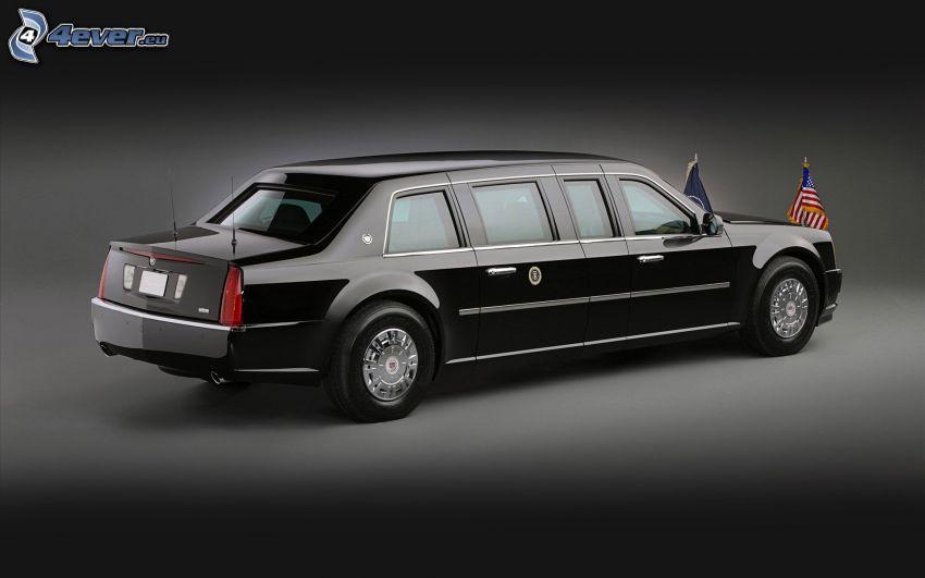 Cadillac, limuzyna, flaga Ameryki