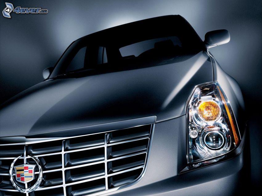 Cadillac, przednia maska, reflektor