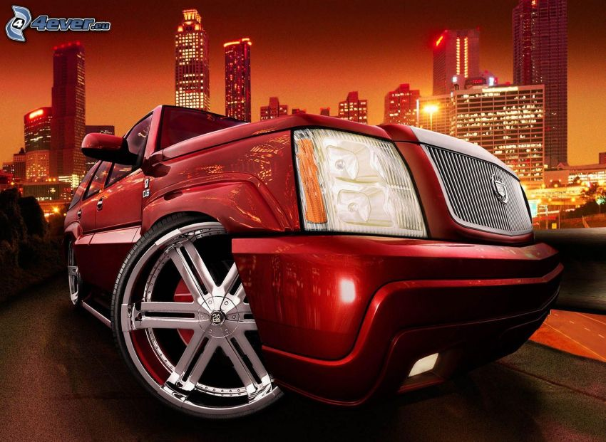 Cadillac, przednia maska, wieżowce