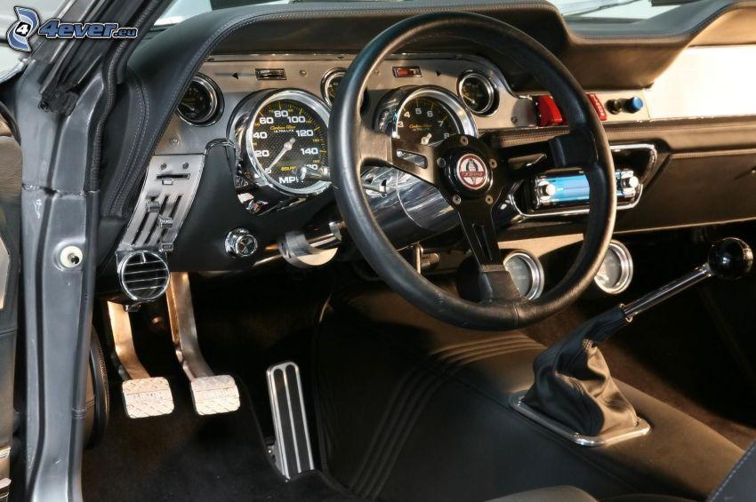 Cadillac, wnętrze, kierownica, dźwignia zmiany biegów