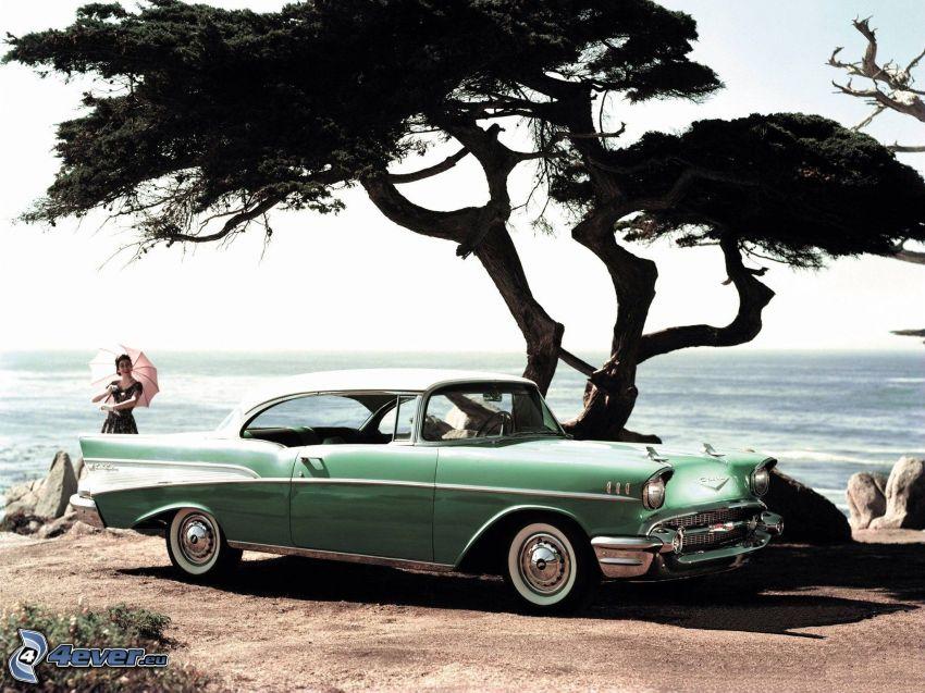 Chevrolet Bel Air, samotne drzewo, morze, kobieta z parasolem