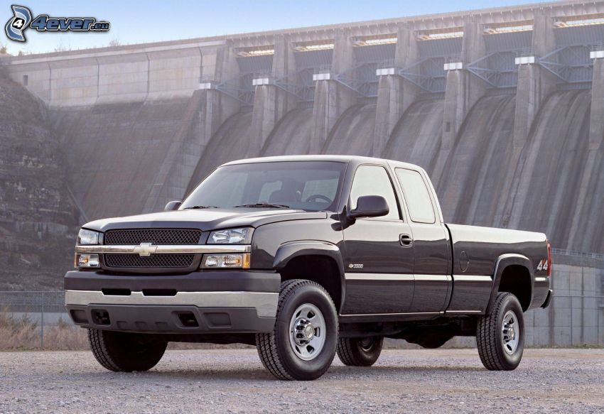 Chevrolet Silverado, pickup truck, zapora