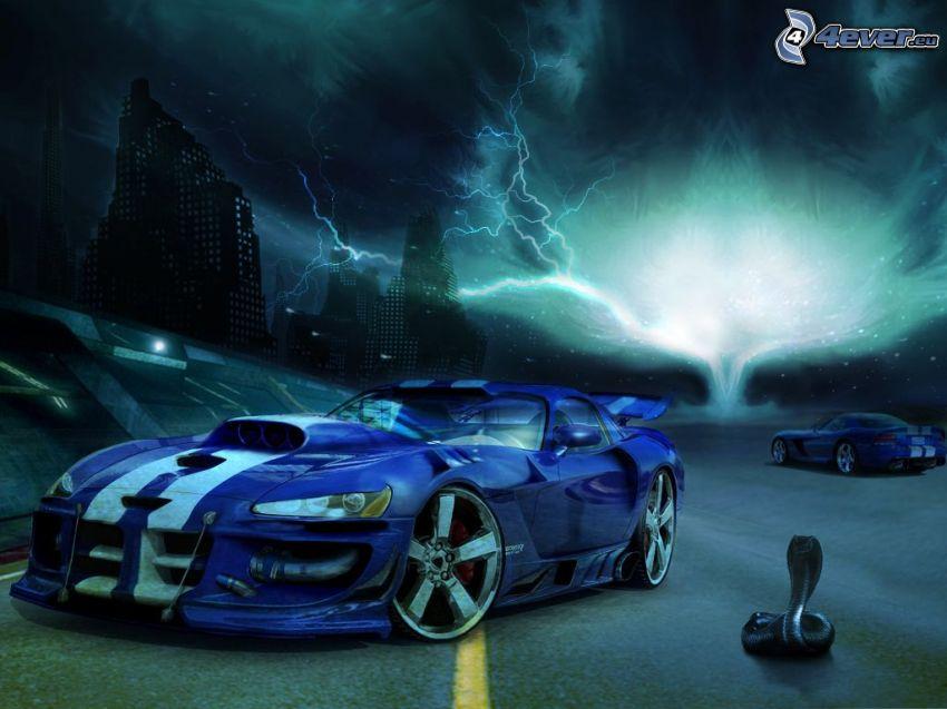 Dodge Viper, tuning, burza, kobra, rysowane