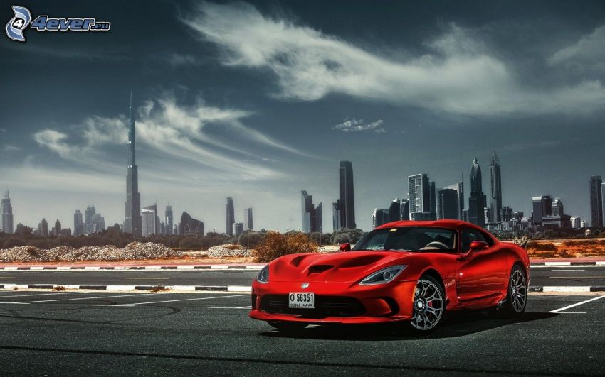 Dodge Viper SRT, parking, wieżowce, Dubaj, Burj Khalifa