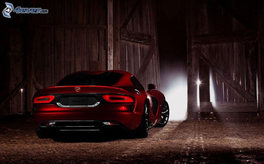 Dodge Viper SRT, stajnia, drewniana brama, światło