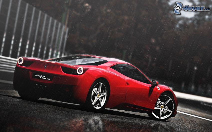 Ferrari 458 Italia, deszcz