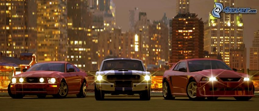 Ford Mustang, Samochody, miasto nocą