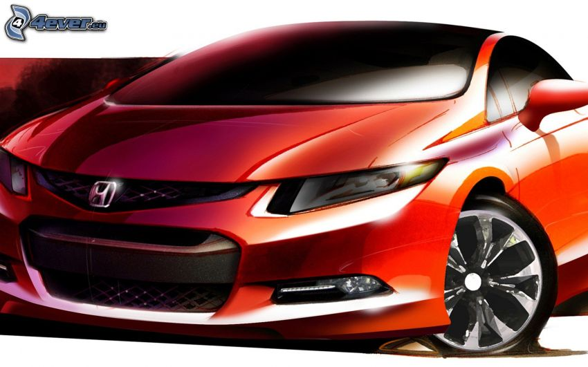 Honda Civic, rysowany samochód